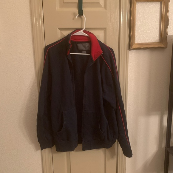 Old navy blue and red zip up jacket L